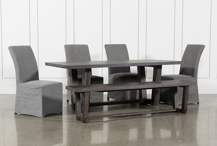 Bale Rustic Grey 6 Piece Dining Set With Pearson Grey Side Chairs