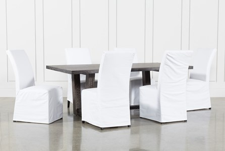 Bale Rustic Grey 7 Piece Dining Set With Pearson White Side Chairs