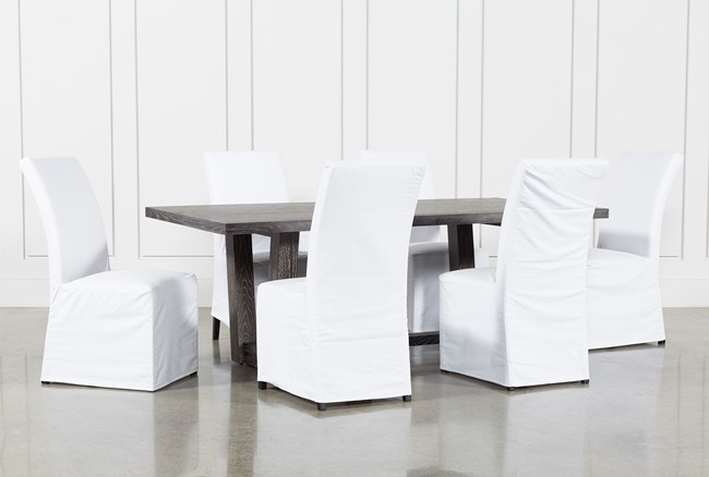 Bale Rustic Grey 7 Piece Dining Set With Pearson White Side Chairs - 360