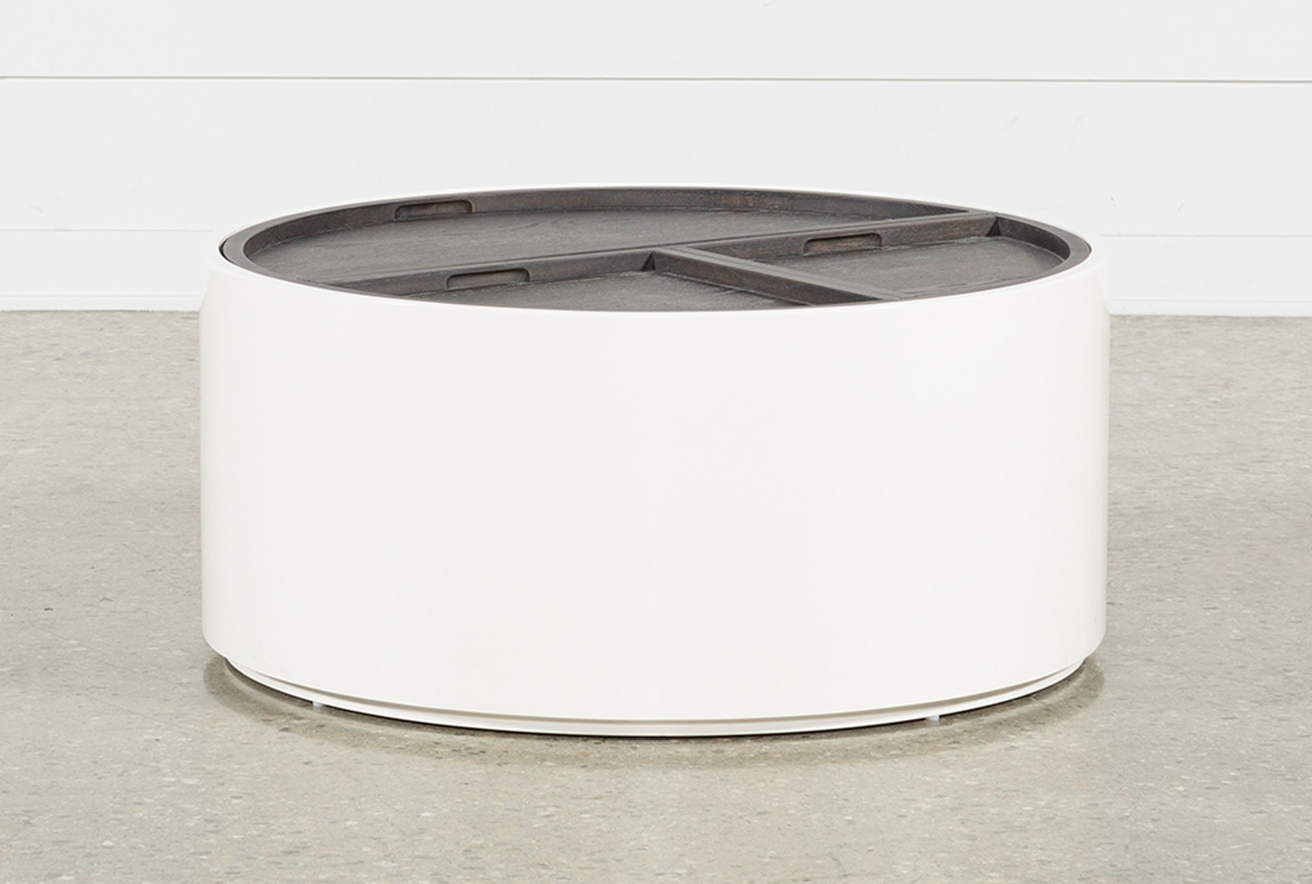 Bale rustic grey round coffee table with storage qty 1 has been successfully added to your cart