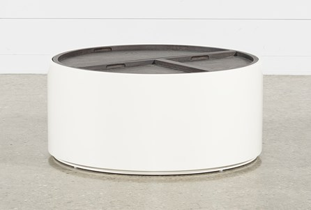 Bale Rustic Grey Round Coffee Table With Storage
