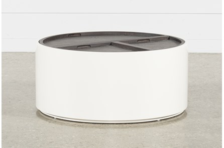 Bale Rustic Grey Round Tail Table With Storage
