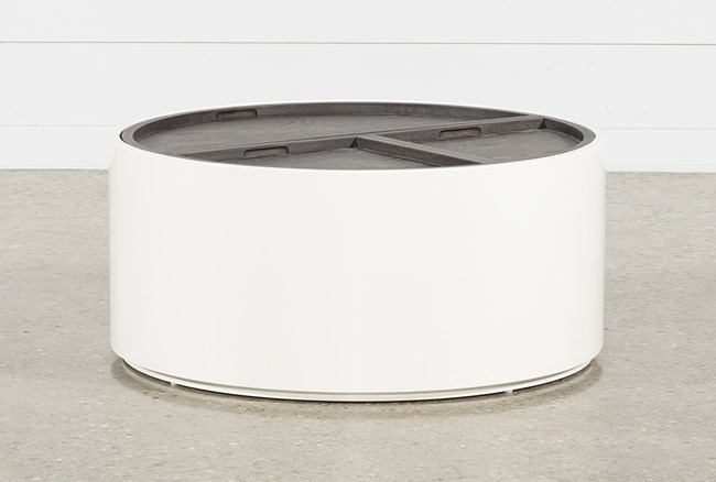 Bale Rustic Grey Round Coffee Table With Storage - 360