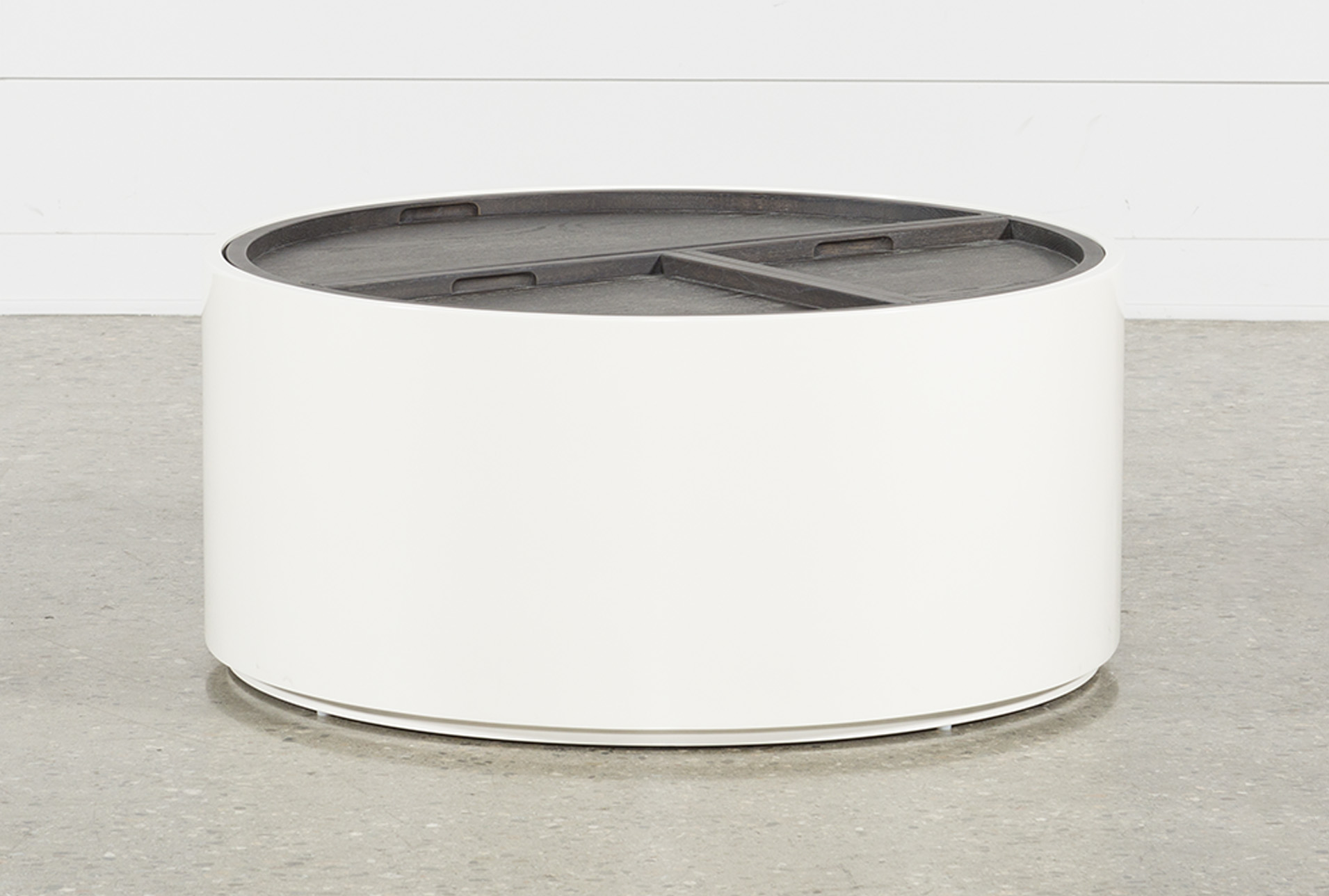 Bale Rustic Grey Round Cocktail Table With Storage
