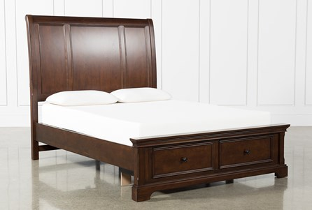 Derby Nutmeg Eastern King Sleigh Bed W/Storage