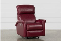 Dev Fire Leather Power Rocker Recliner With Power Headrest & Lumbar