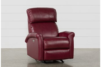 Dev Fire Leather Power Rocker Recliner W/Pwr Headrest & Lumbar
