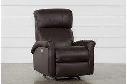 Dev Chocolate Leather Power Rocker Recliner With Power Headrest & Lumbar