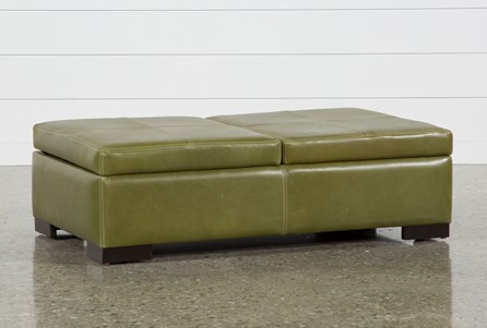Elm Grande II Leather Storage Cocktail Ottoman