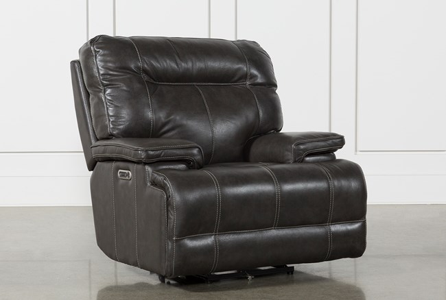 Marius Dark Grey Power Recliner Chair With Power Headrest And Usb - 360