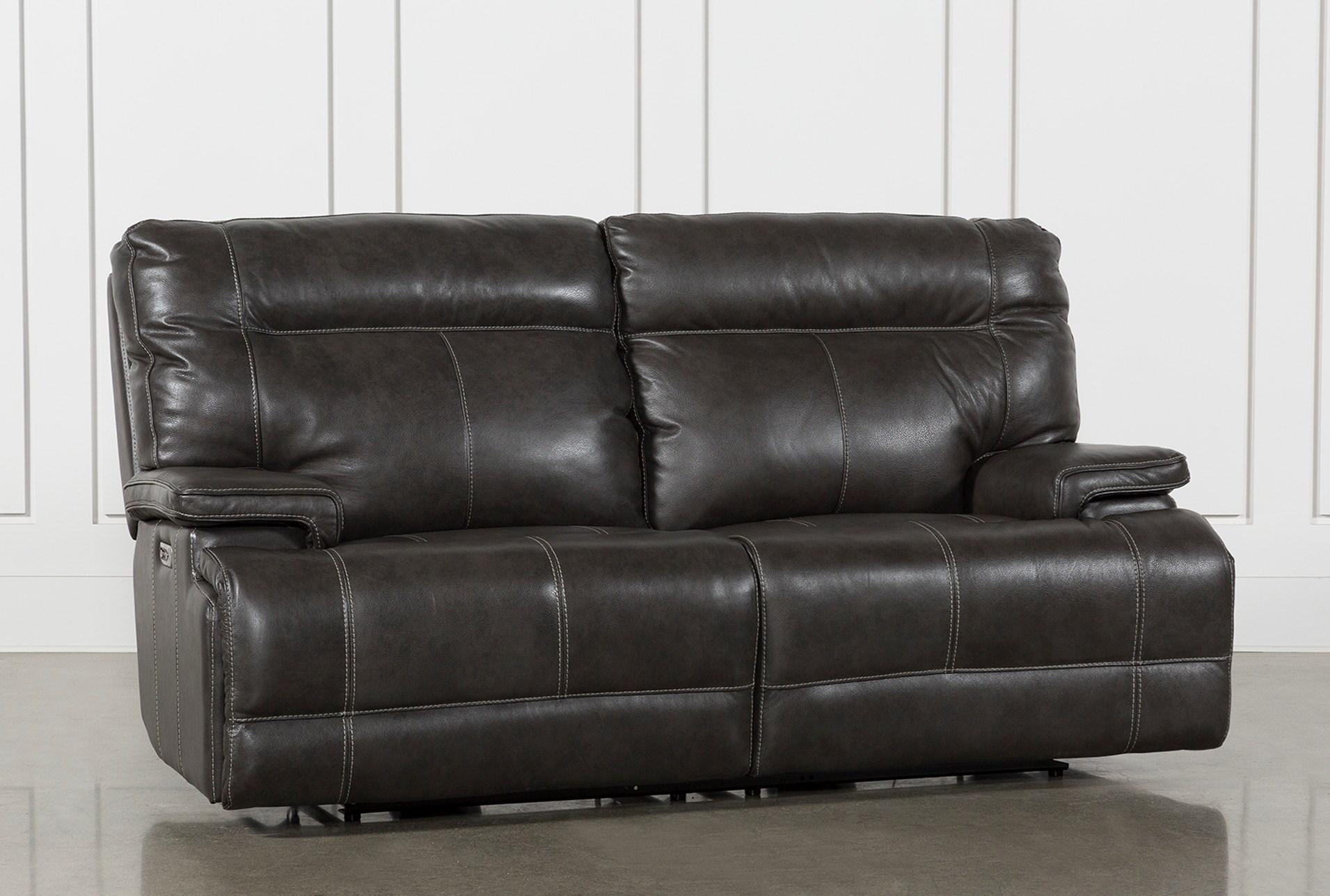 Marius Dark Grey Power Reclining Sofa With Power Headrest