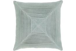 Accent Pillow-Cotton Velvet Box Pleat Silver Grey 18X18