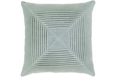 Accent Pillow-Cotton Velvet Box Pleat Silver Grey 18X18