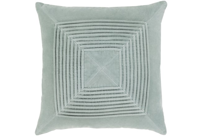 Accent Pillow-Cotton Velvet Box Pleat Silver Grey 18X18 - 360