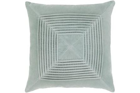 Accent Pillow-Cotton Velvet Box Pleat Silver Grey 20X20