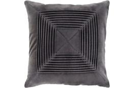 Accent Pillow-Cotton Velvet Box Pleat Charcoal 18X18