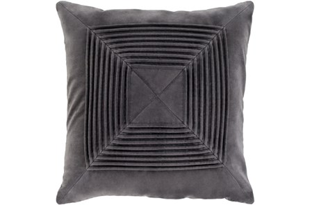 Accent Pillow-Cotton Velvet Box Pleat Charcoal 18X18