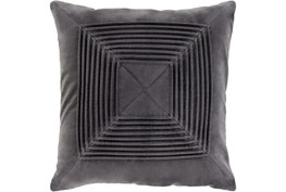 Accent Pillow-Cotton Velvet Box Pleat Charcoal 20X20