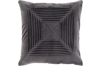 Accent Pillow-Cotton Velvet Box Pleat Charcoal 20X20