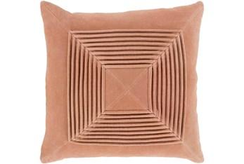 Accent Pillow-Cotton Velvet Box Pleat Peach 18X18