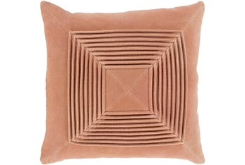 Accent Pillow-Cotton Velvet Box Pleat Peach 20X20