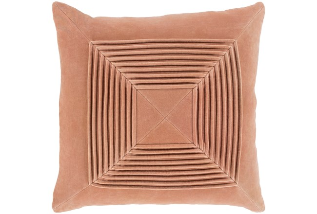 Accent Pillow-Cotton Velvet Box Pleat Peach 20X20 - 360