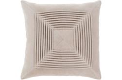 Accent Pillow-Cotton Velvet Box Pleat Stone 18X18