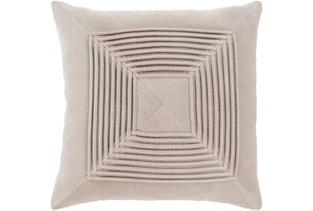 Accent Pillow-Cotton Velvet Box Pleat Stone 18X18