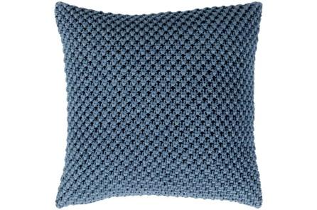 Accent Pillow-Crochet Cotton Denim Blue 18X18