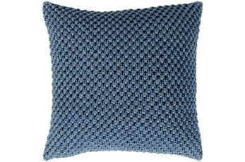 Accent Pillow-Crochet Cotton Denim Blue 20X20