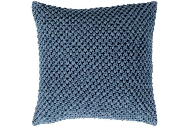 Accent Pillow-Crochet Cotton Denim Blue 20X20 - 360
