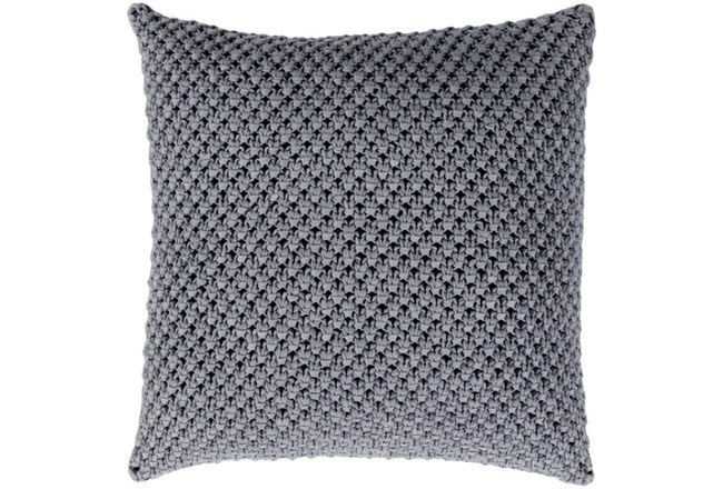 Accent Pillow-Crochet Cotton Grey 18X18 - 360