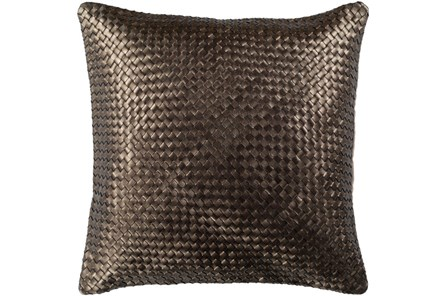 Accent Pillow-Woven Leather Bronze 20X20 - Main