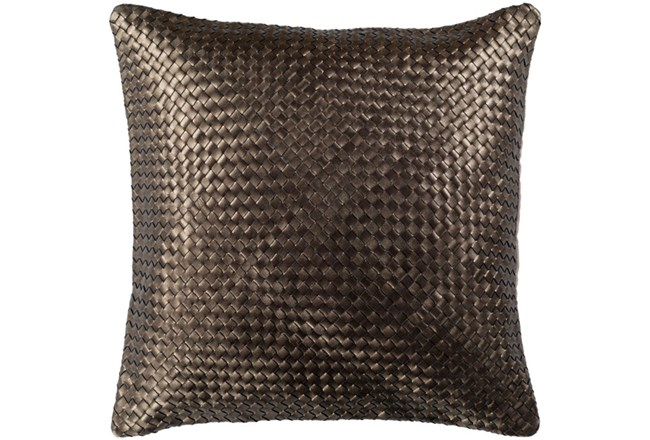 Accent Pillow-Woven Leather Bronze 20X20 - 360