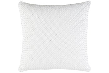 Accent Pillow-Woven Leather White 20X20