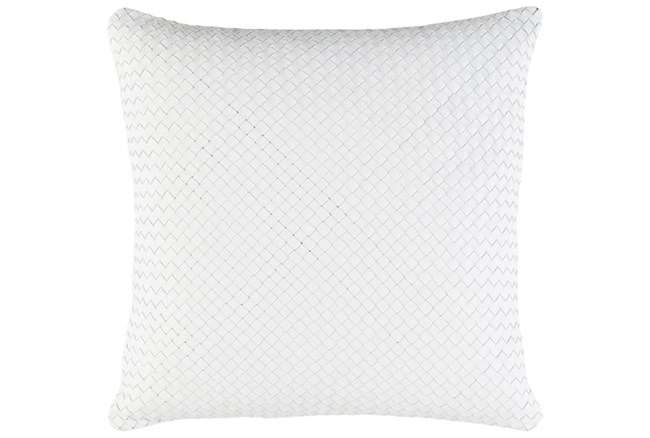 Accent Pillow-Woven Leather White 20X20 - 360