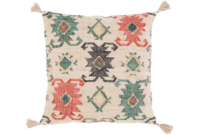 Accent Pillow-Jute Woven Teal And Rust 20X20 - 360