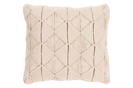 Accent Pillow-Macrame Diamonds Cream 18X18