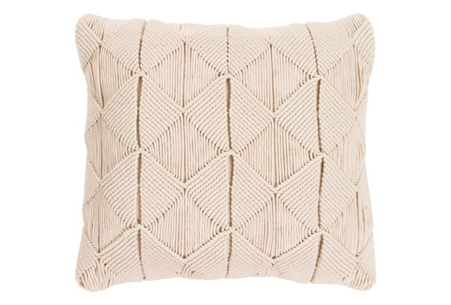 Accent Pillow-Macrame Diamonds Cream 18X18 - 360