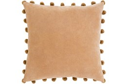 Accent Pillow-Cotton Velvet Pom Poms Camel 20X20