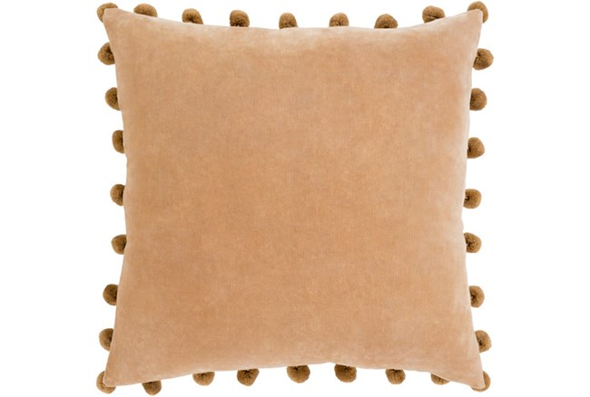 Accent Pillow-Cotton Velvet Pom Poms Camel 20X20 - 360