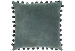 Accent Pillow-Cotton Velvet Pom Poms Green 20X20