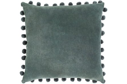Accent Pillow-Cotton Velvet Pom Poms Green 20X20