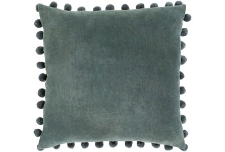 Accent Pillow-Cotton Velvet Pom Poms Green 20X20 - Main