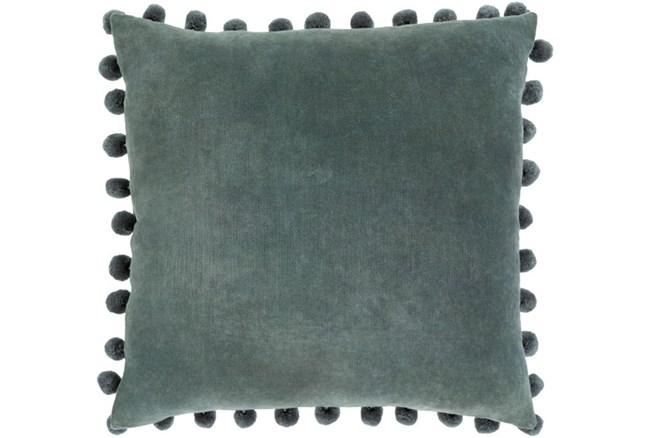 Accent Pillow-Cotton Velvet Pom Poms Green 20X20 - 360