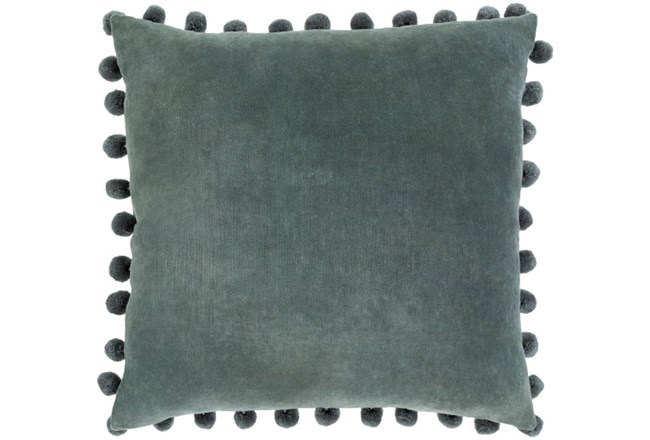 Accent Pillow-Cotton Velvet Pom Poms Green 20X20 - 360