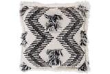 Accent Pillow-Brush Fringe Boho Black And Ivory 20X20 - Signature