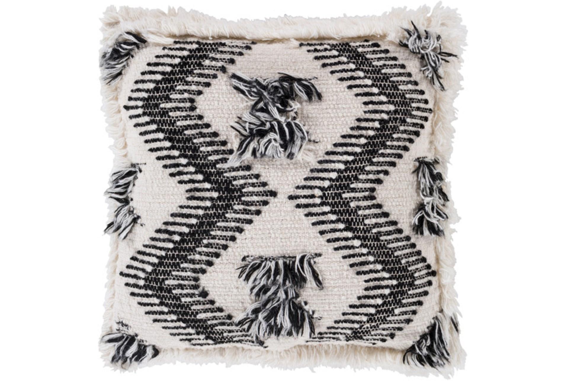 Accent Pillow Brush Fringe Boho Black And Ivory 20x20