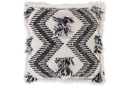 Accent Pillow-Brush Fringe Boho Black And Ivory 20X20