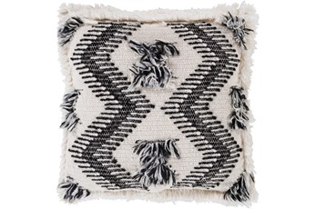 Accent Pillow-Brush Fringe Boho Black And Ivory 20X20